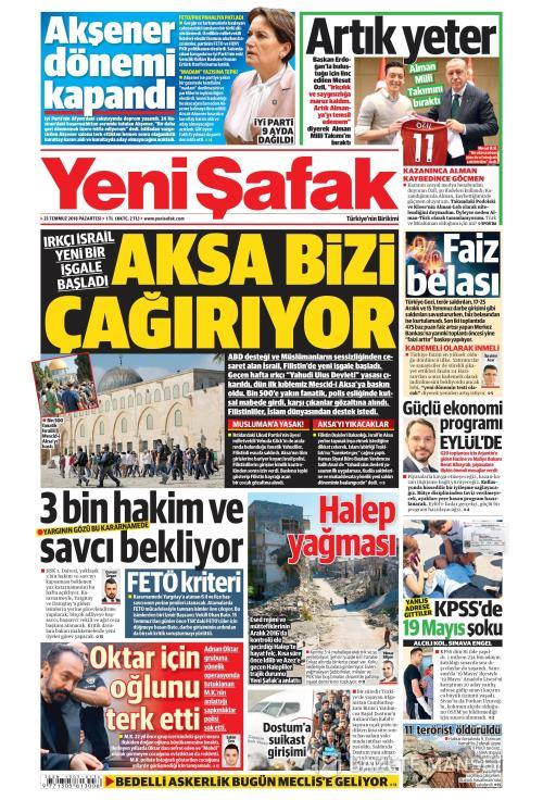 YENİ ŞAFAK - 23 Temmuz 2018