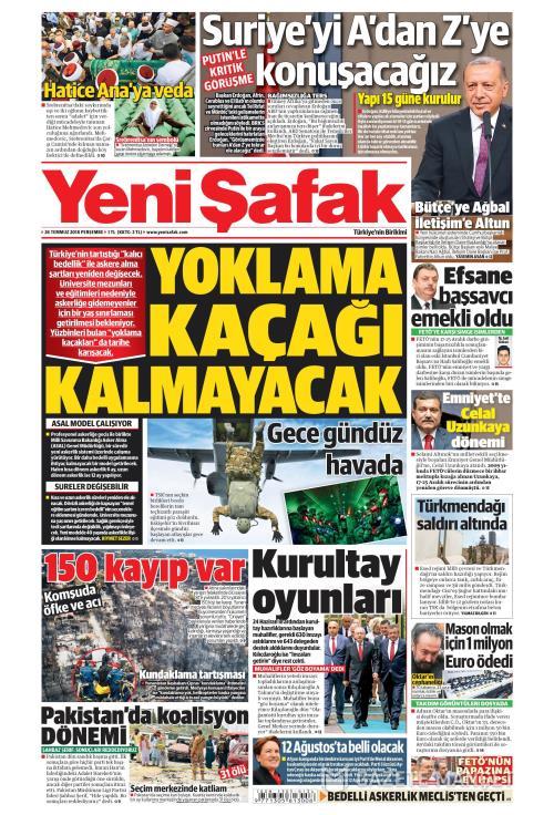 YENİ ŞAFAK - 26 Temmuz 2018