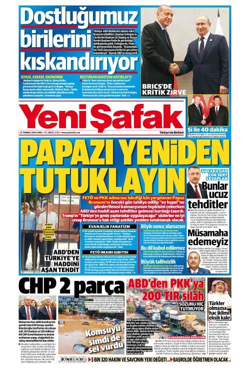 YENİ ŞAFAK - 27 Temmuz 2018