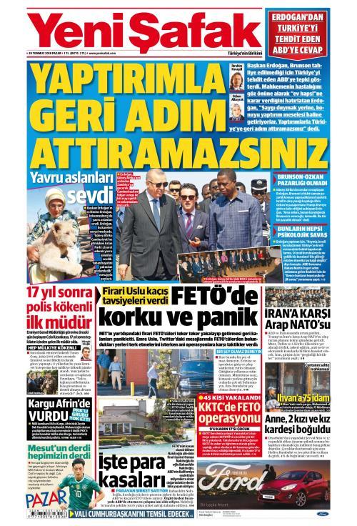 YENİ ŞAFAK - 29 Temmuz 2018