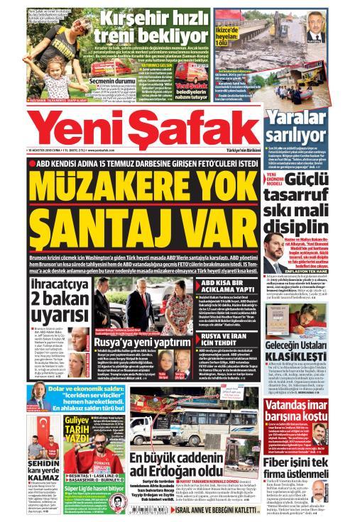YENİ ŞAFAK - 10 Ağustos 2018