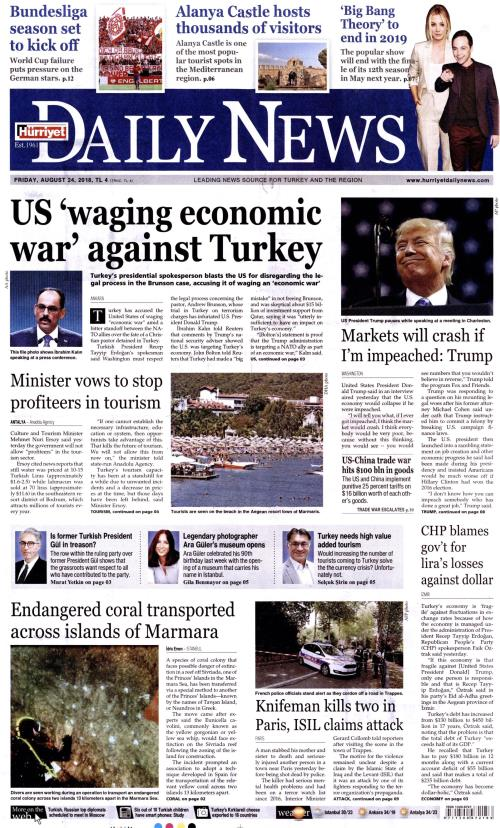HÜRRİYET DAİLY NEWS - 24 Ağustos 2018
