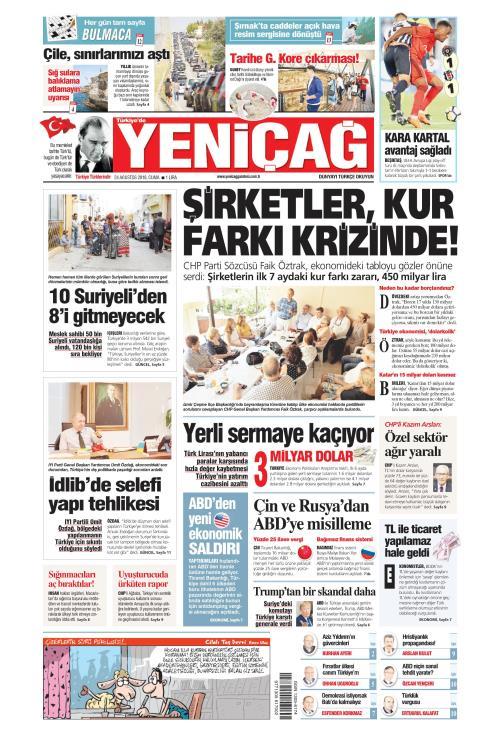 Türkiye'de Yeni Çağ - 24 Ağustos 2018
