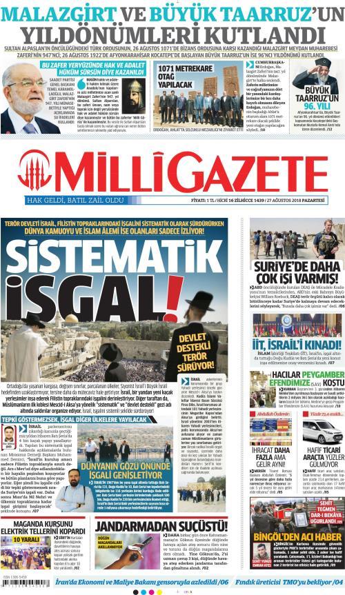 MİLLİ GAZETE - 27 Ağustos 2018