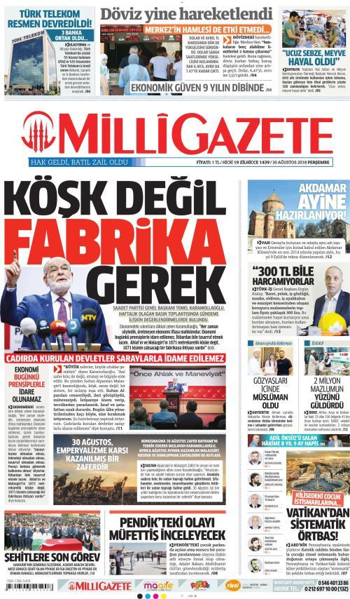 MİLLİ GAZETE - 30 Ağustos 2018