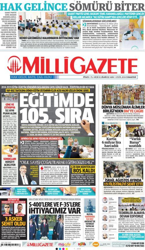 MİLLİ GAZETE - 01 Eylül 2018