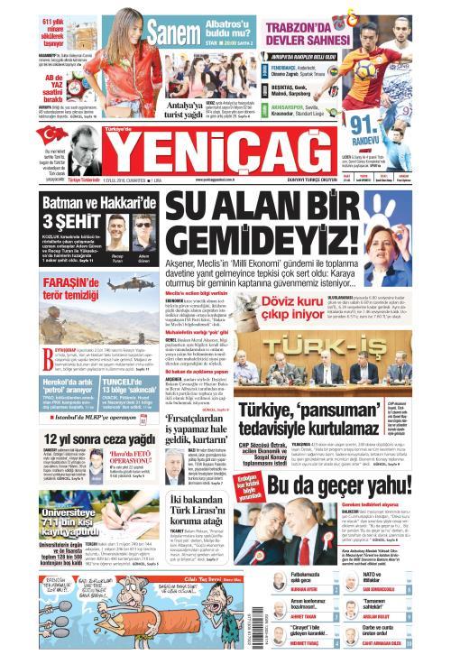 Türkiye'de Yeni Çağ - 01 Eylül 2018