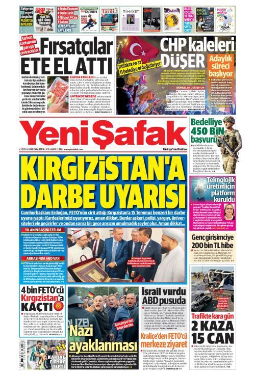 YENİ ŞAFAK - 03 Eylül 2018