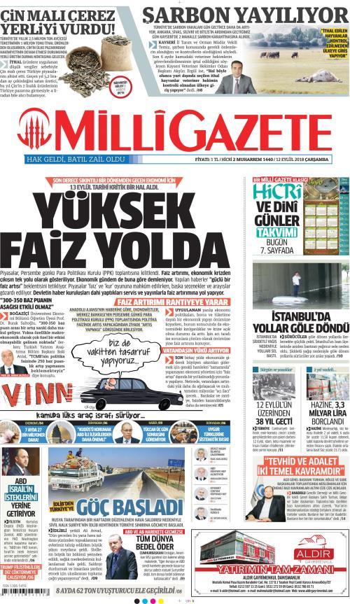 MİLLİ GAZETE - 12 Eylül 2018