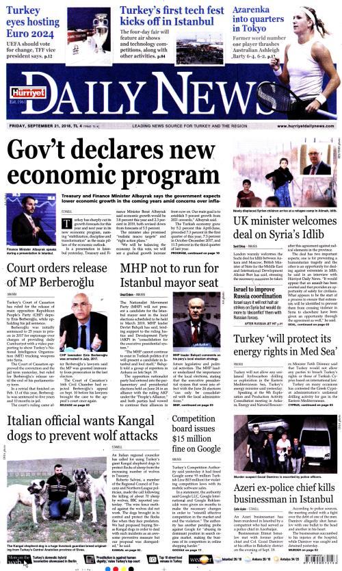 HÜRRİYET DAİLY NEWS - 21 Eylül 2018