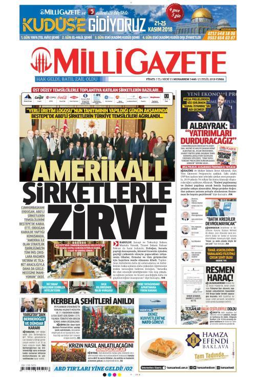 MİLLİ GAZETE - 21 Eylül 2018