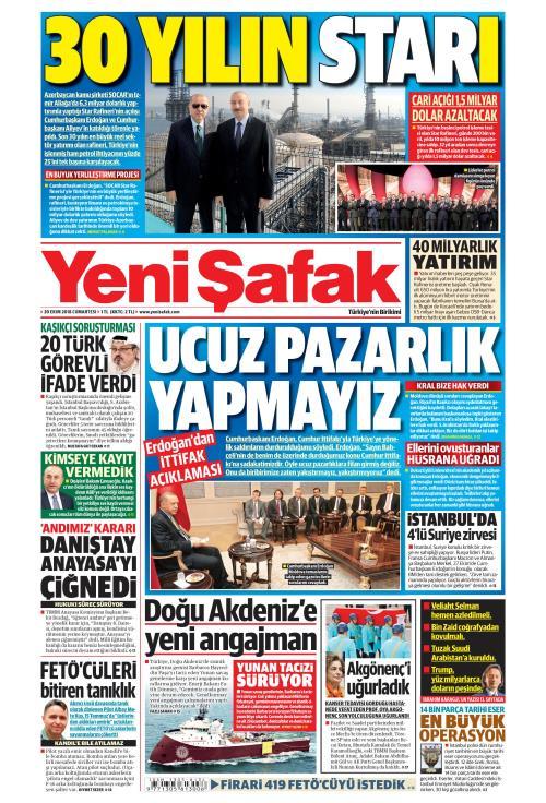 YENİ ŞAFAK - 20 Ekim 2018