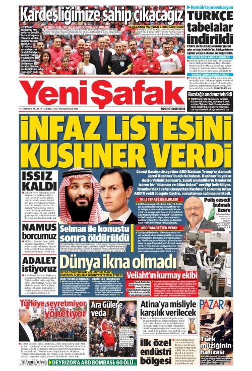 YENİ ŞAFAK - 21 Ekim 2018