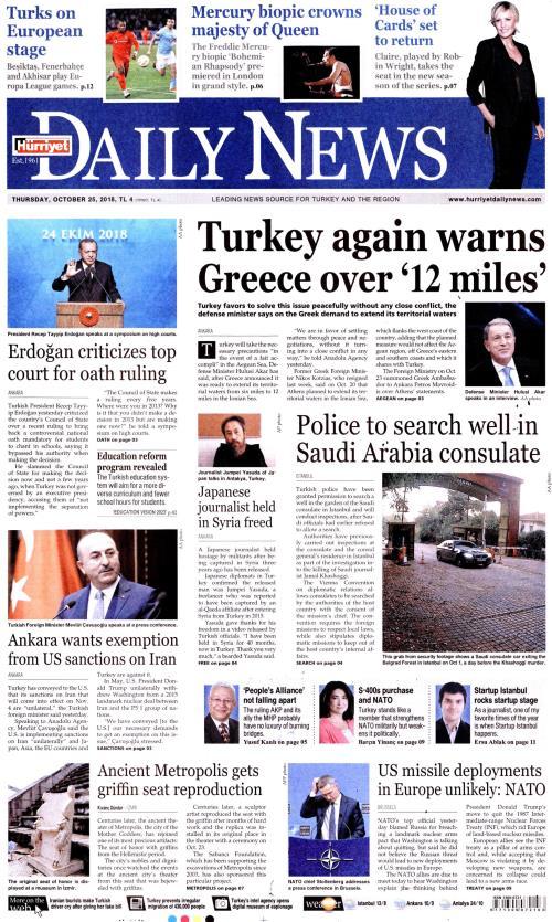 HÜRRİYET DAİLY NEWS - 25 Ekim 2018