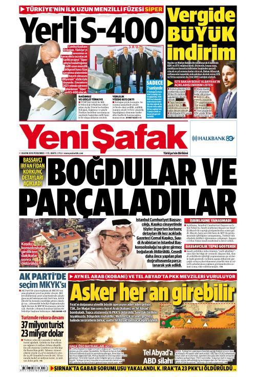 YENİ ŞAFAK - 01 Kasım 2018