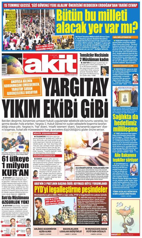YENİ AKİT - 08 Kasım 2018
