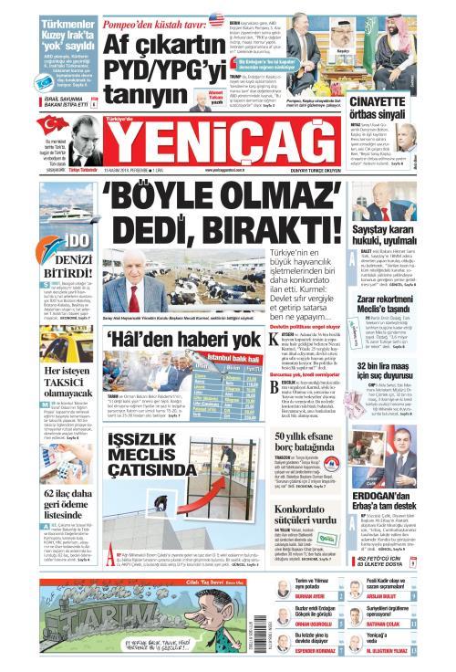 Türkiye'de Yeni Çağ - 15 Kasım 2018
