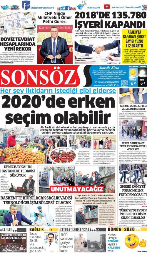 SONSÖZ - 25 Ocak 2020