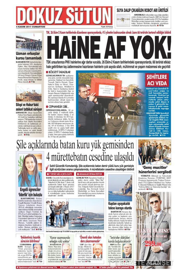 Dokuz Sütun Gazetesi 04 Kasım 2017 Oku Gazete Manşet Gzt