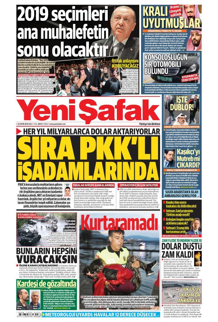 YENİ ŞAFAK - 23 Ekim 2018