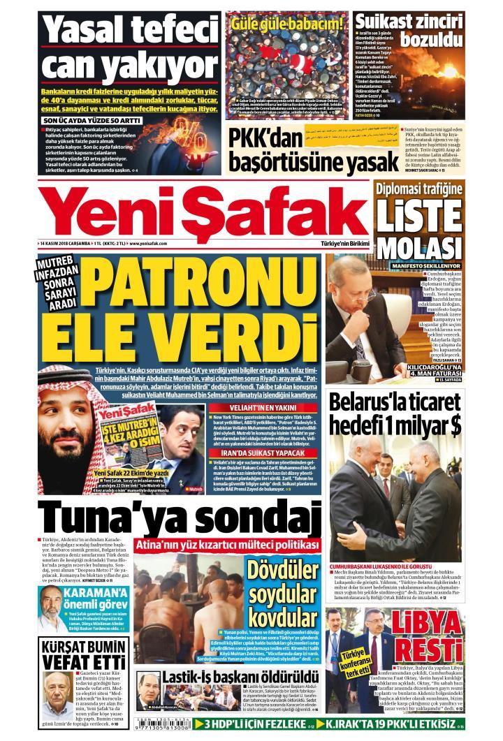 YENİ ŞAFAK - 14 Kasım 2018