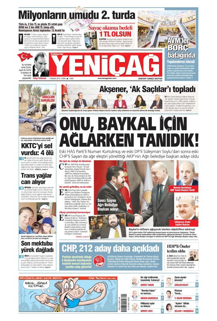 Türkiye'de Yeni Çağ - 07 Aralık 2018