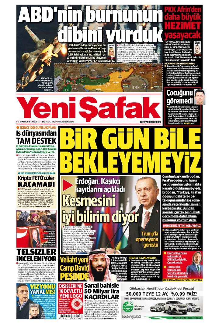 YENİ ŞAFAK - 15 Aralık 2018