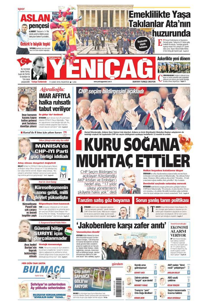 Türkiye'de Yeni Çağ - 11 Şubat 2019