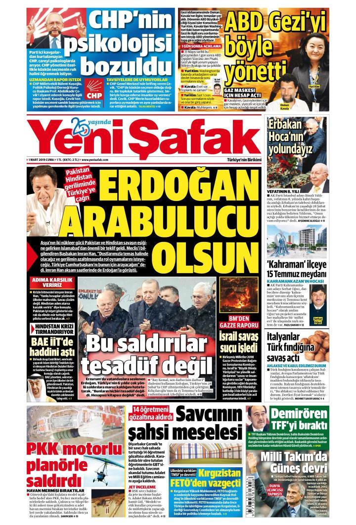 YENİ ŞAFAK - 01 Mart 2019