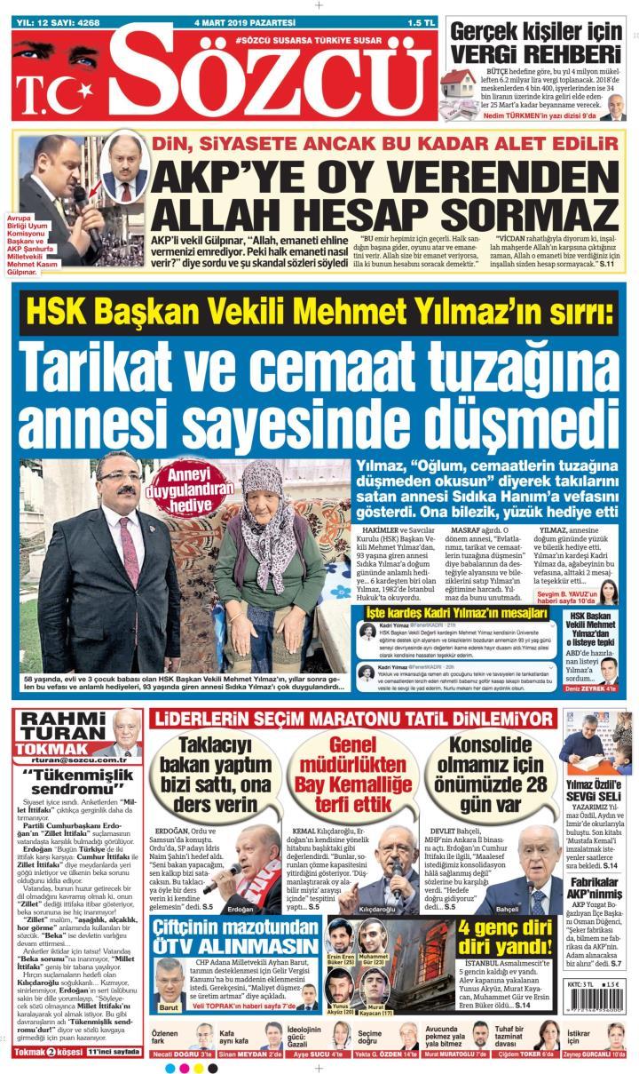 Sözcü Gazetesi 04 Mart 2019 Oku Gazete Manşet Gzt