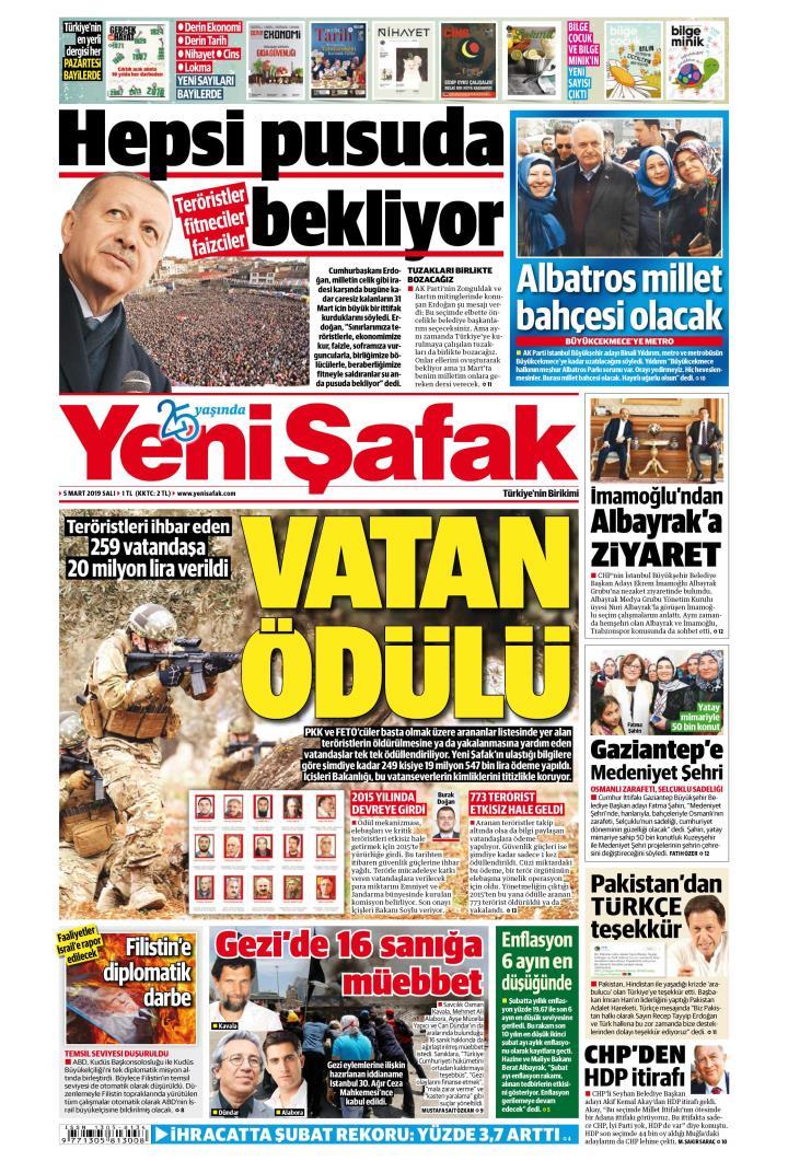 YENİ ŞAFAK - 05 Mart 2019