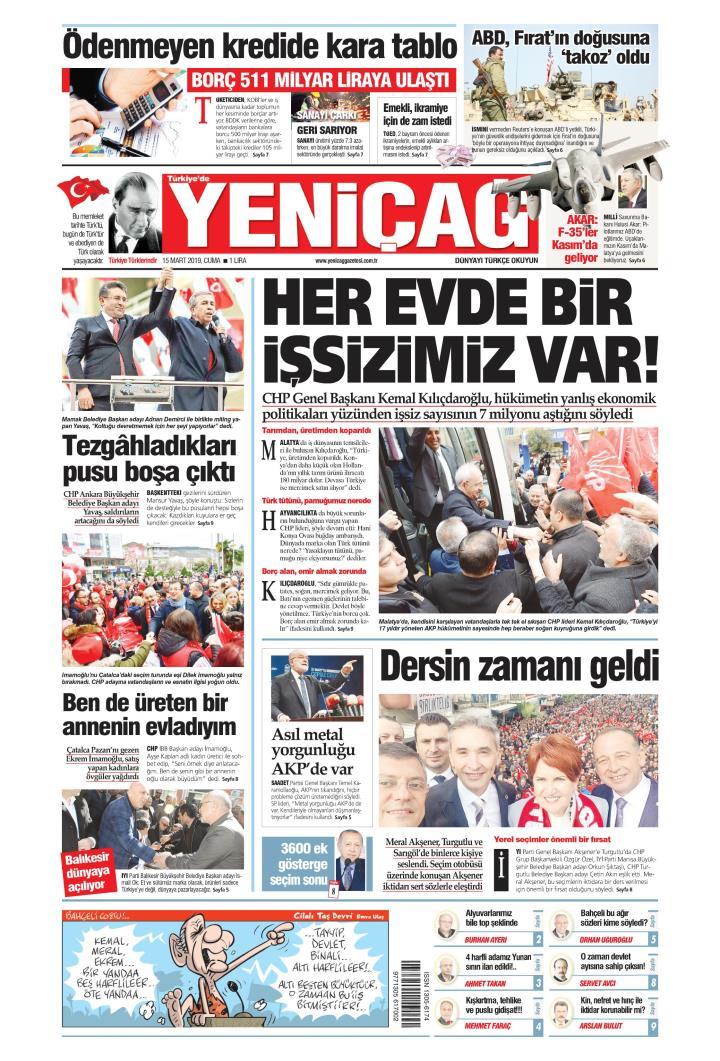 Türkiye'de Yeni Çağ - 15 Mart 2019