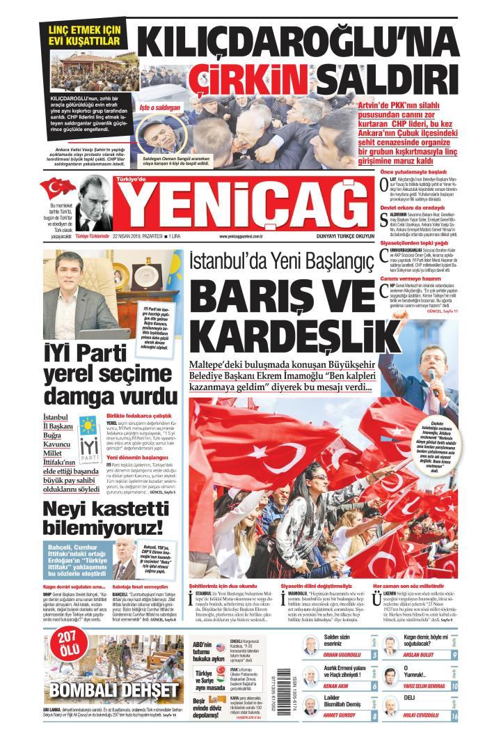 Türkiye'de Yeni ÃaÄ - 22 Nisan 2019
