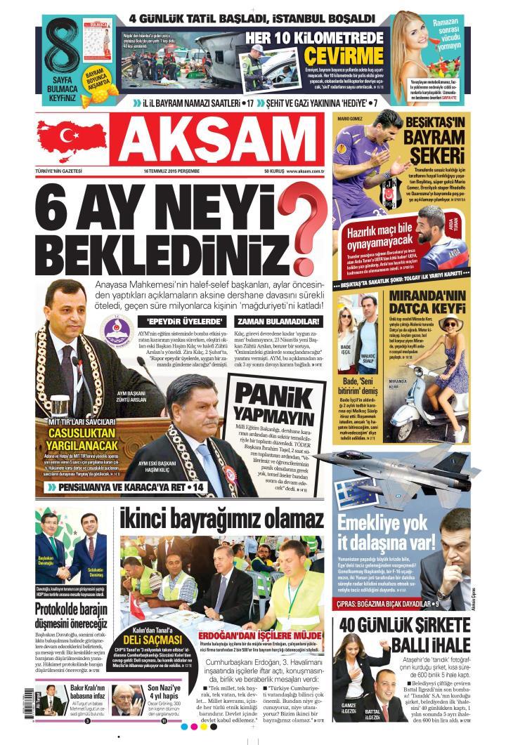 Akşam Gazetesi 16 Temmuz 2015 Oku Gazete Manşet Gzt