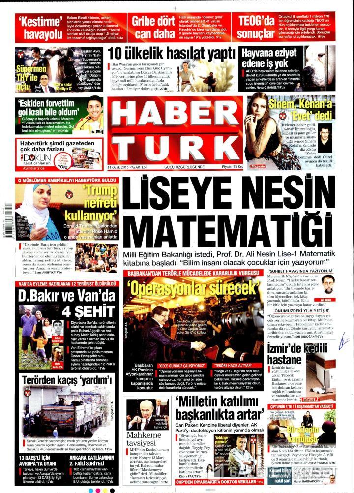 HABERTÜRK İZMİR TAŞRA - 11 Ocak 2016