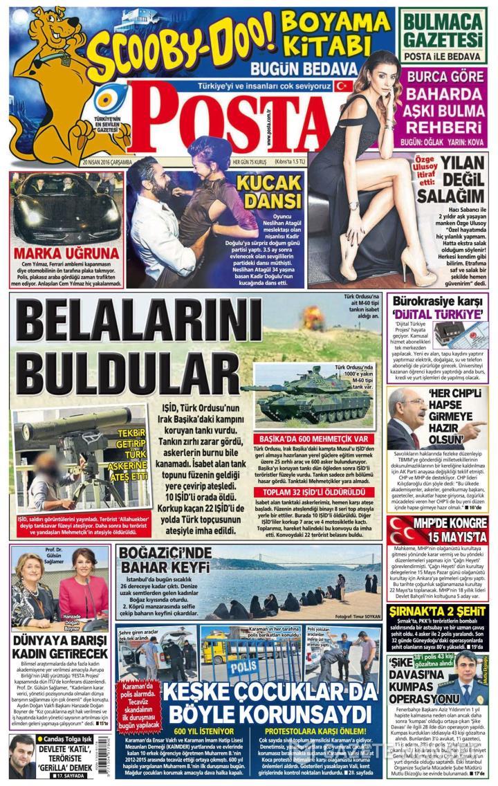 Posta Gazetesi 20 Nisan 2016 Oku Gazete Manşet Gzt Gzt