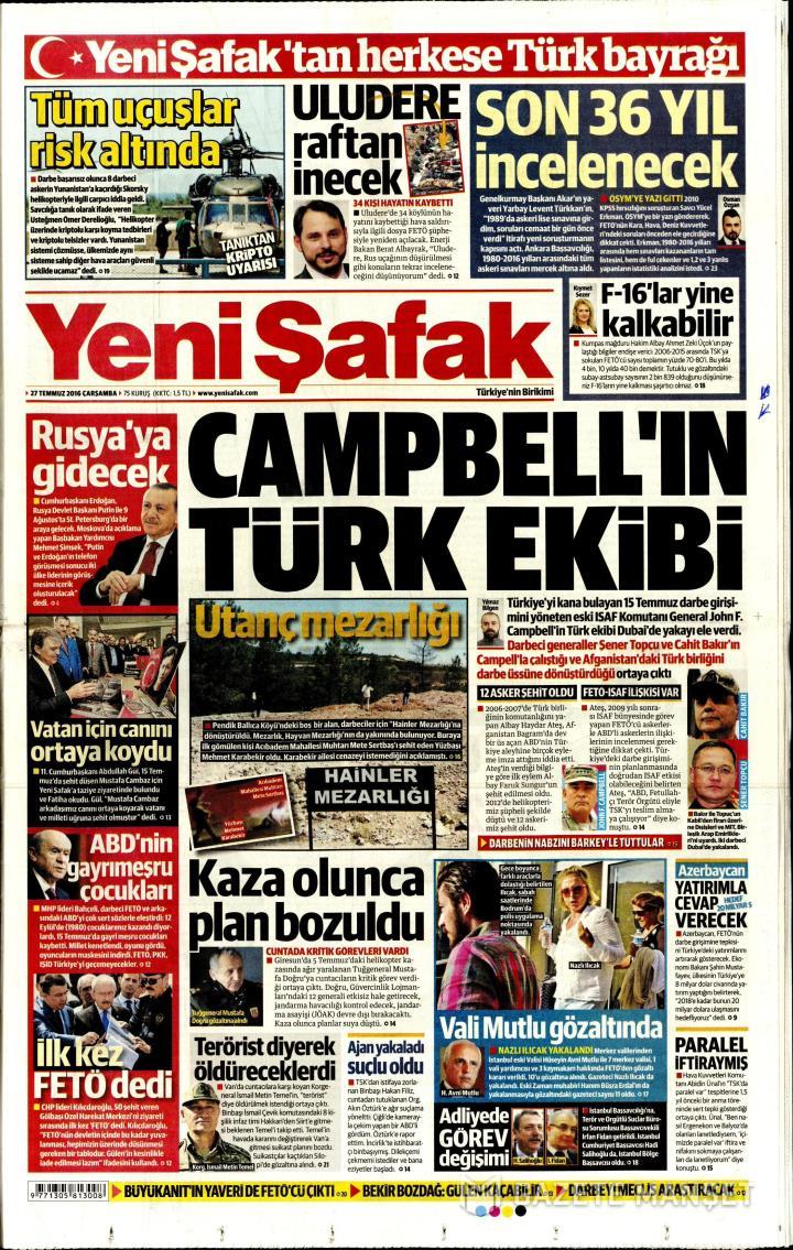 YENİ ŞAFAK ANKARA TAŞRA - 27 Temmuz 2016