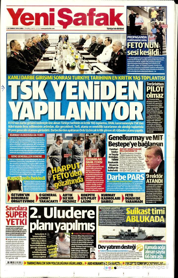 YENİ ŞAFAK ANKARA TAŞRA - 29 Temmuz 2016