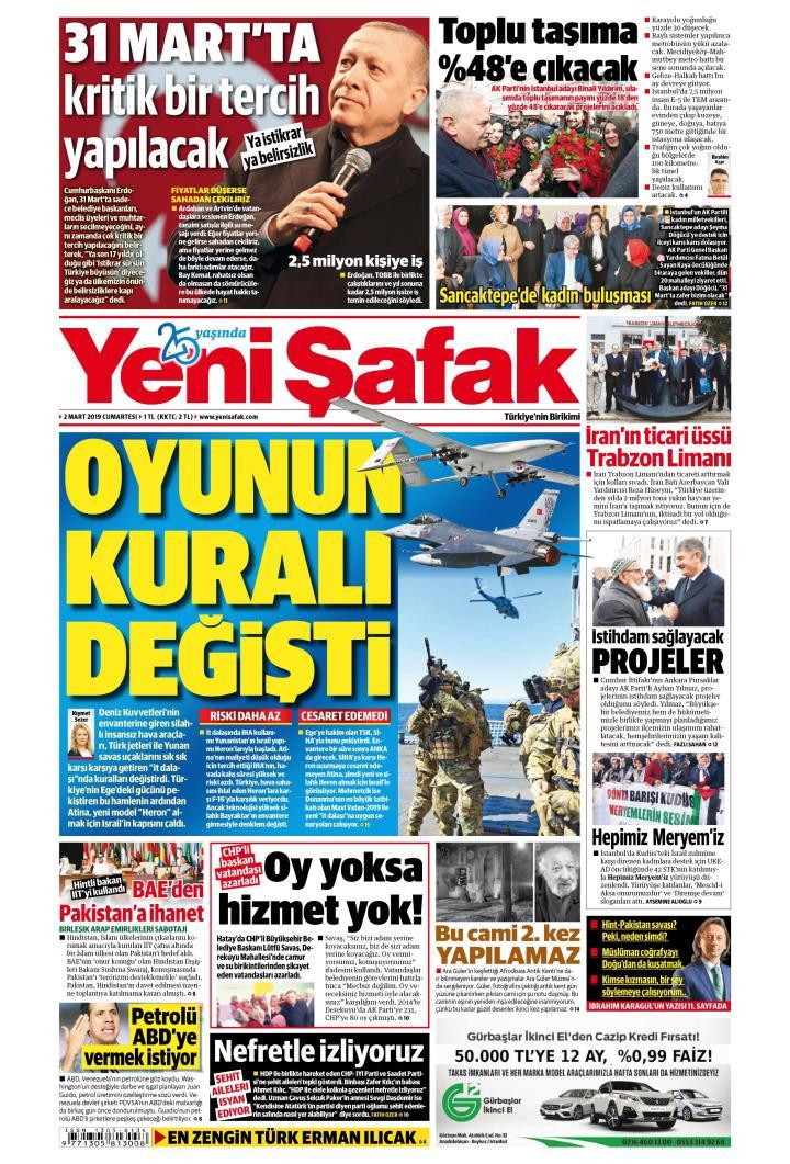 YENİ ŞAFAK - 02 Mart 2019