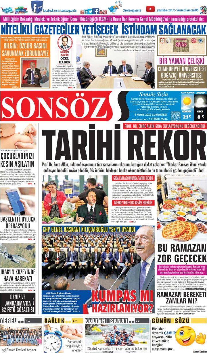 SONSÖZ - 04 Mayıs 2019