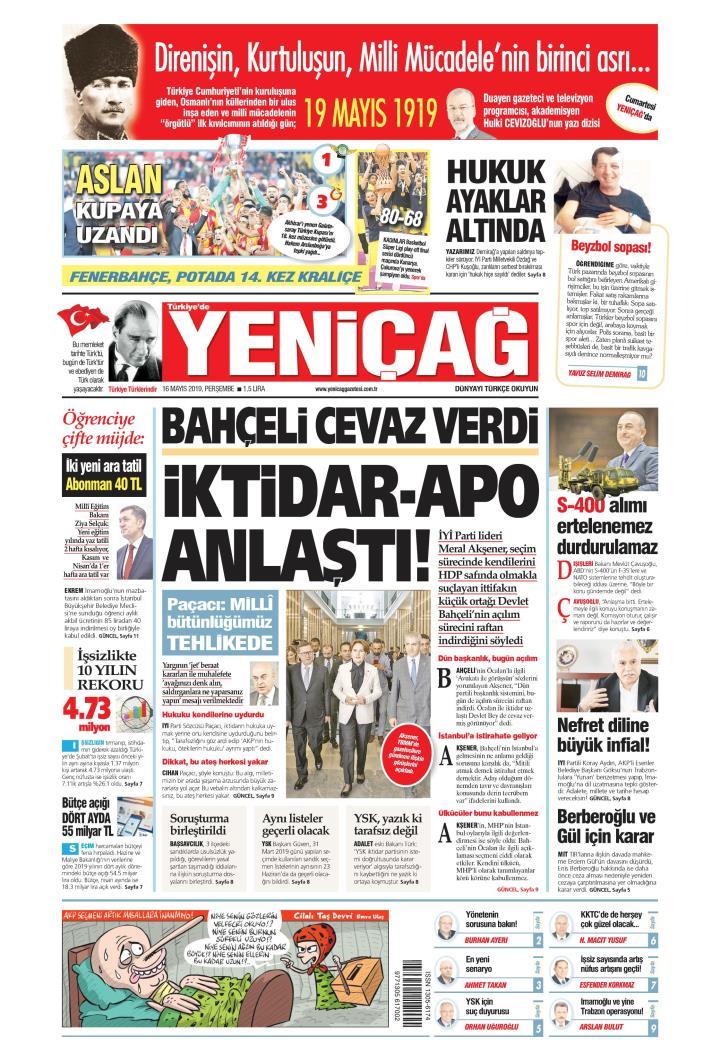 Türkiye'de Yeni Çağ - 16 Mayıs 2019