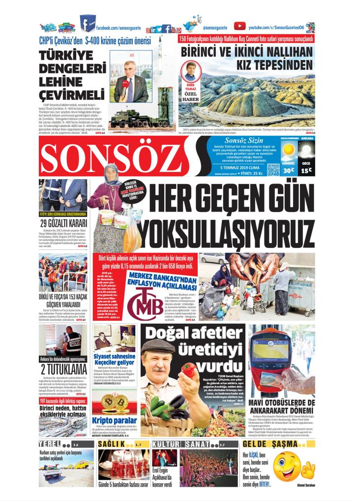 SONSÖZ - 05 Temmuz 2019