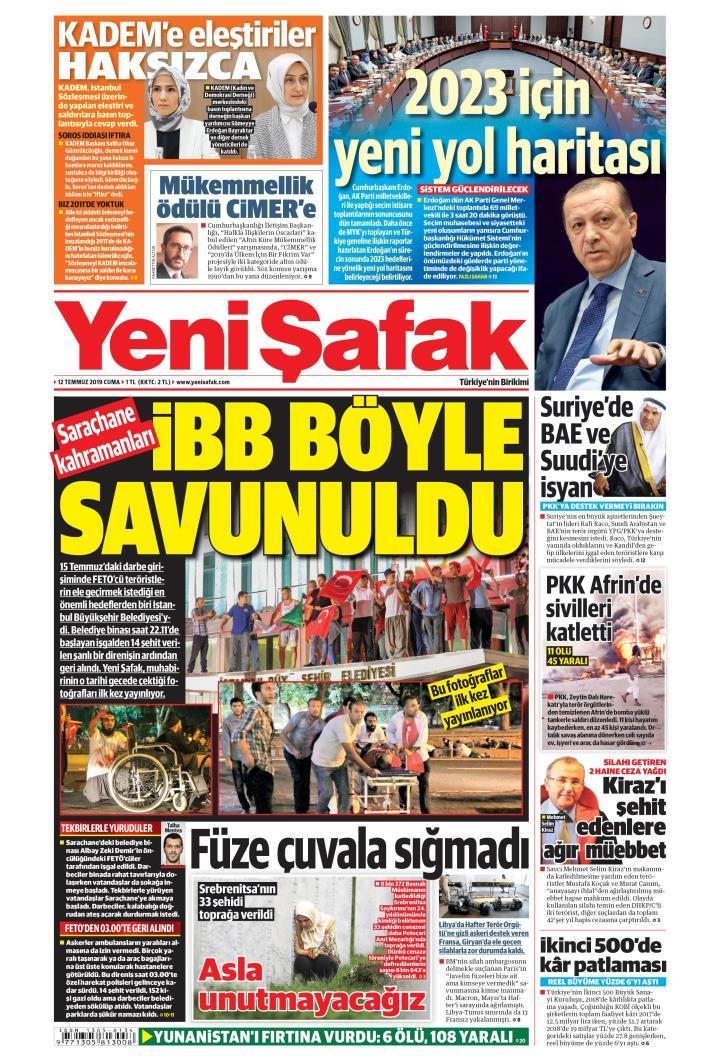YENİ ŞAFAK - 12 Temmuz 2019