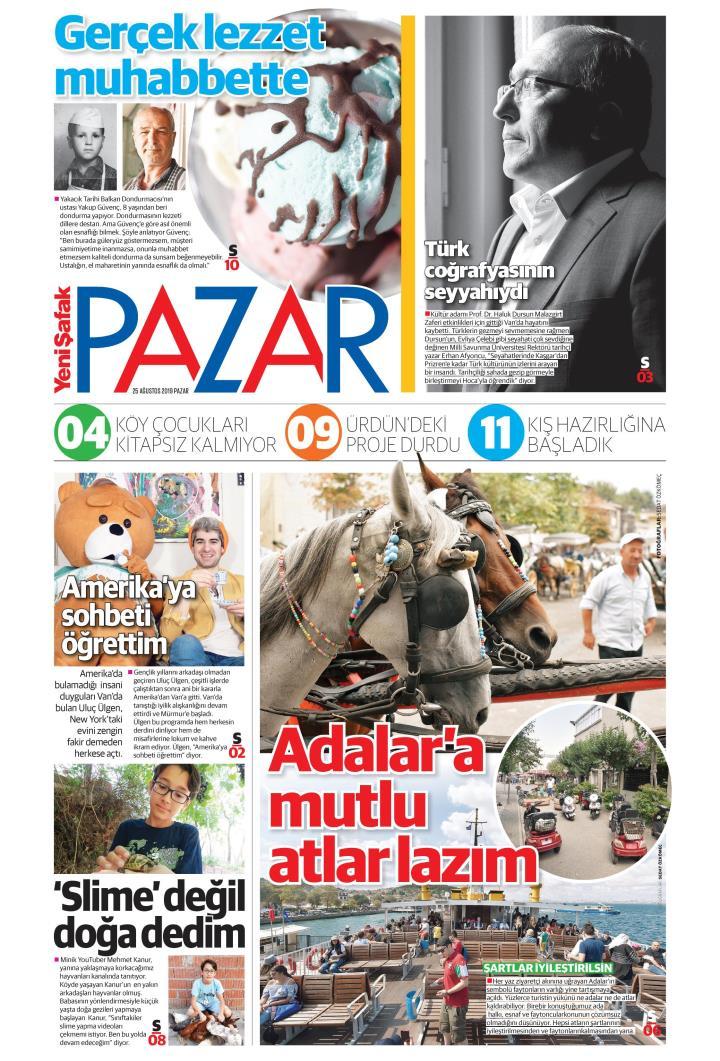 YENİ ŞAFAK PAZAR - 25 Ağustos 2019