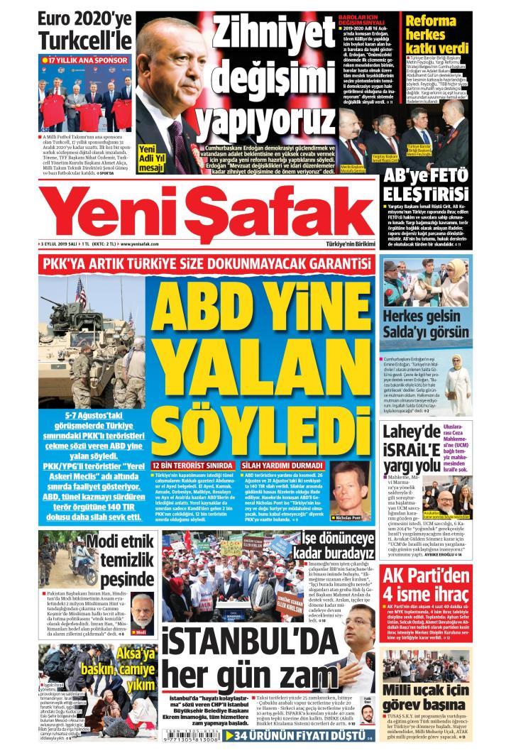 YENİ ŞAFAK - 03 Eylül 2019