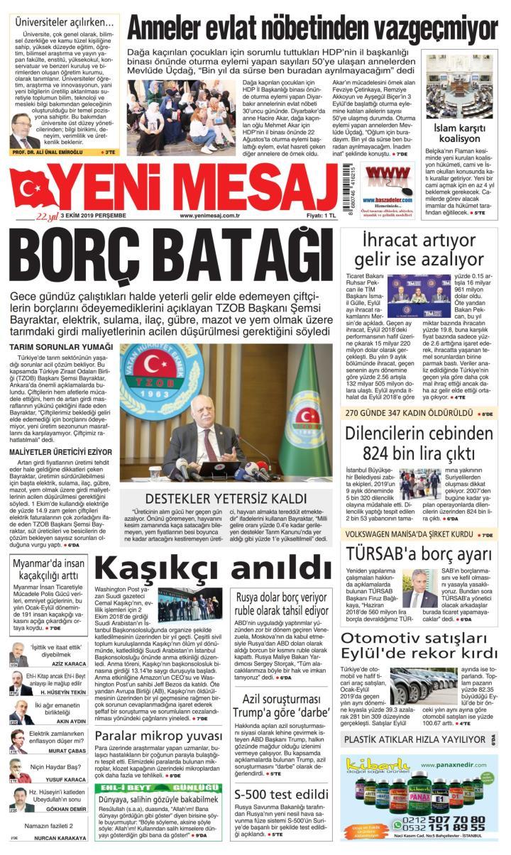 YENİ MESAJ - 03 Ekim 2019