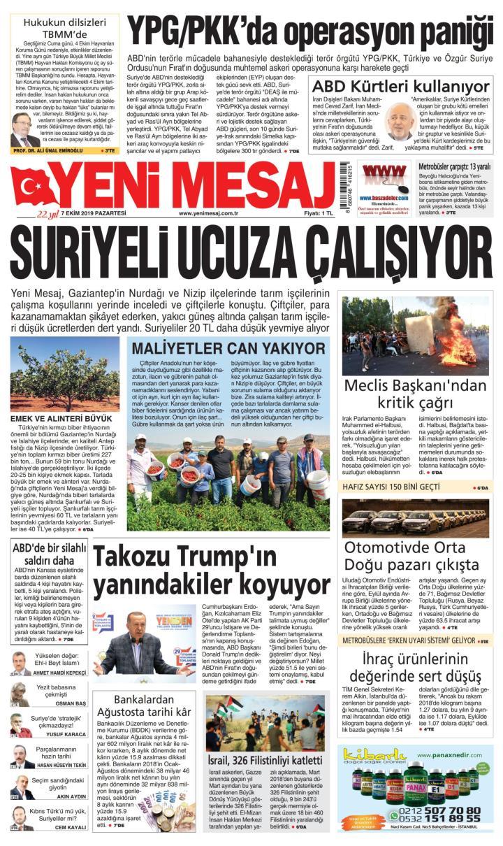 YENİ MESAJ - 07 Ekim 2019
