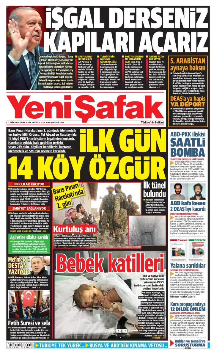 YENİ ŞAFAK - 11 Ekim 2019