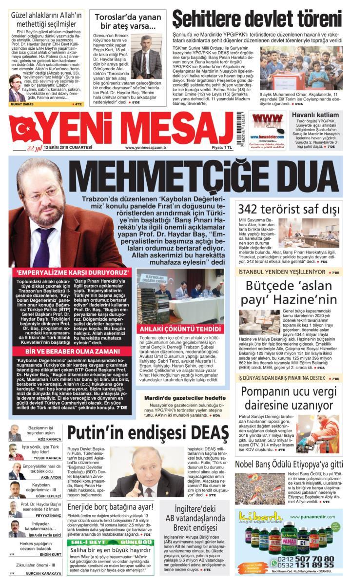YENİ MESAJ - 12 Ekim 2019