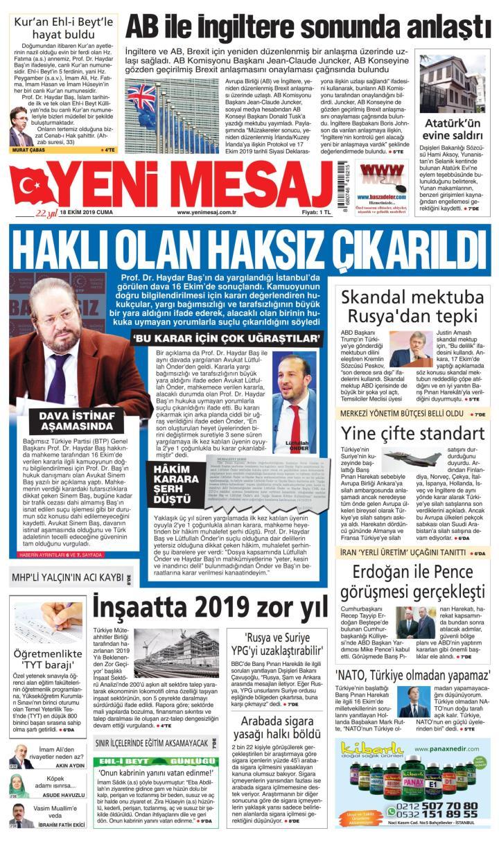 YENİ MESAJ - 18 Ekim 2019